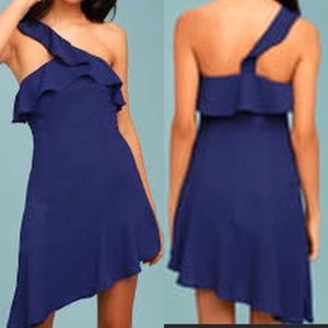 LULU'S One Shoulder Flutter Asymmetrical Dress XL